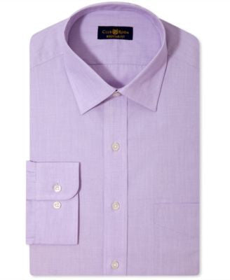 Club Room Estate Classic-Fit Wrinkle Resistant Lavender Solid Dress Shirt