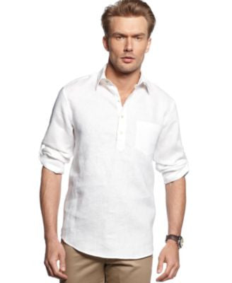 Tasso Elba Shirt, Long-Sleeve Linen-Blend Popover Shirt