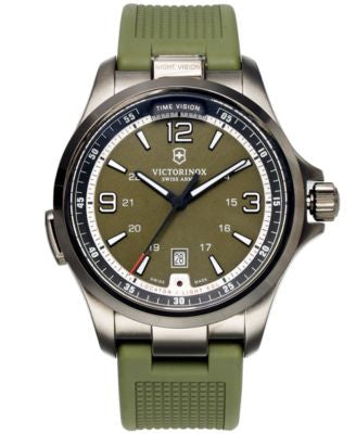 Victorinox Swiss Army Watch, Men's Night Vision Green Rubber Strap 42mm 241595