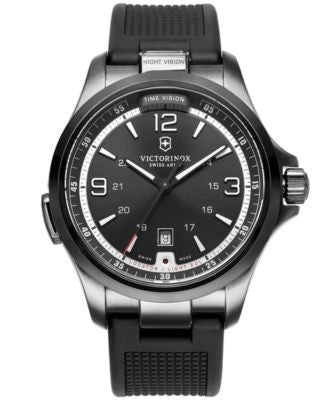 Victorinox Swiss Army Watch, Men's Night Vision Black Rubber Strap 42mm 241596
