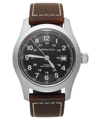 Hamilton Watch, Men's Swiss Automatic Khaki Field Brown Leather Strap 42mm H70555533