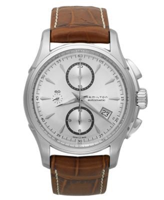 Hamilton Watch, Men's Swiss Automatic Chronograph Jazzmaster Brown Leather Strap 42mm H32616553