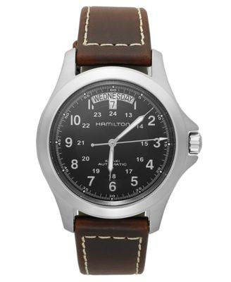 Hamilton Watch, Men's Swiss Automatic Khaki King Brown Leather Strap 40mm H64455533