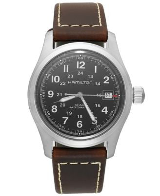 Hamilton Watch, Men's Swiss Automatic Khaki Field Brown Leather Strap 38mm H70455533