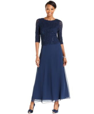 Alex Evenings Petite Elbow-Sleeve Sequin Lace Gown