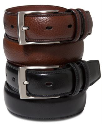 Perry Ellis Men's Big and Tall Leather Belt
