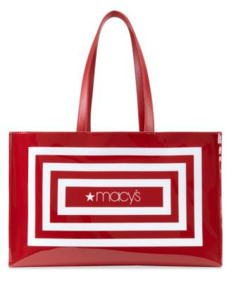 Vogily Large Open Tote, Red & White