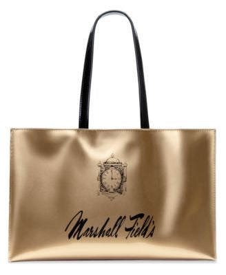 Marshall Fields Large Open Tote, Gold & Black