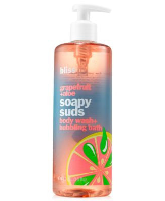 bliss pink grapefruit & aloe soapy suds body wash & bubbling bath, 16 oz.