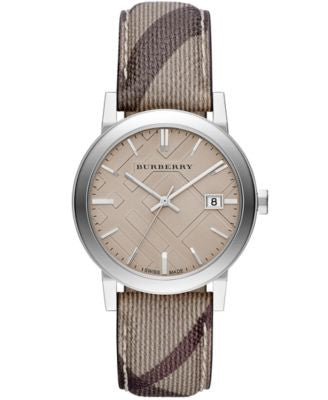 Burberry Watch, Women's Swiss Smoke Check Fabric Strap 38mm BU9029