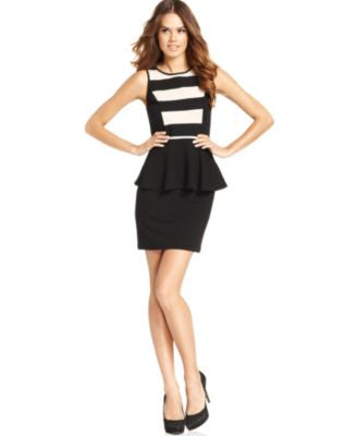 kensie Dress, Sleeveless Striped Peplum Sheath