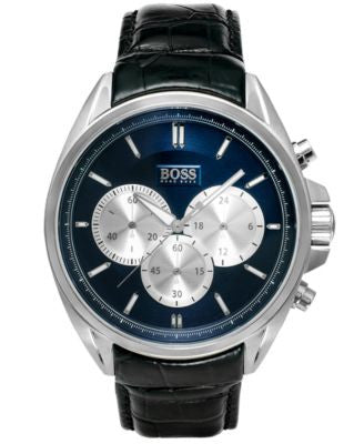 BOSS Hugo Boss Watch, Men's Chronograph Black Leather Strap 47mm 1512882
