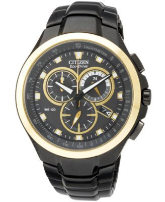 Citizen Men's Chronograph Eco-Drive Black Ion-Plated Stainless Steel Bracelet Watch 42mm AT0908-52E
