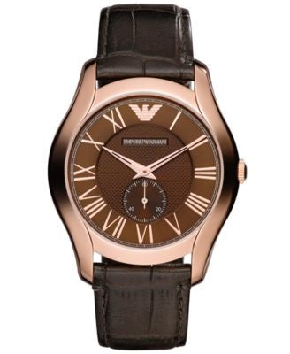 Emporio Armani Watch, Men's Dark Brown Croco Leather Strap 43mm AR1705