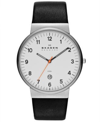 Skagen Watch, Men's Black Leather Strap 45mm SKW6024