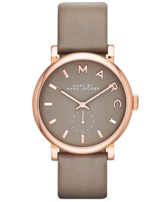Marc by Marc Jacobs Watch, Women's Baker Gray Textured Leather Strap 37mm MBM1266 - First @ Vogily!
