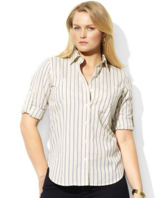 Lauren Ralph Lauren Plus Size Roll-Tab-Sleeve Striped Shirt