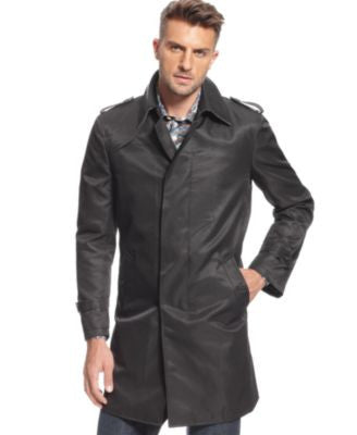 Tallia Men's Slim-Fit Black Trench Coat