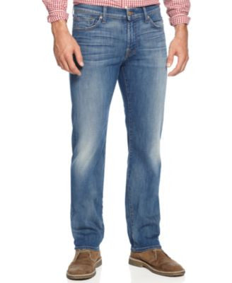7 For All Mankind Men's Luxe Performance Slimmy Slim Straight-Leg Jeans, Pale Ale
