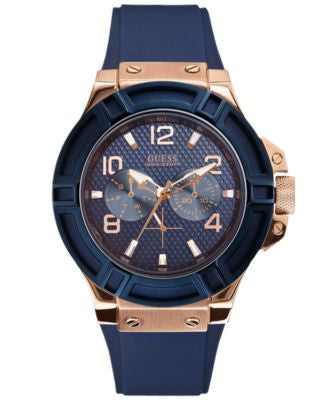 GUESS Watch, Men's Blue Silicone Strap 46mm U0247G3