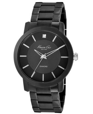 Kenneth Cole New York Watch, Men's Diamond Accent Black Ion-Plated Stainless Steel Bracelet 44mm KC9