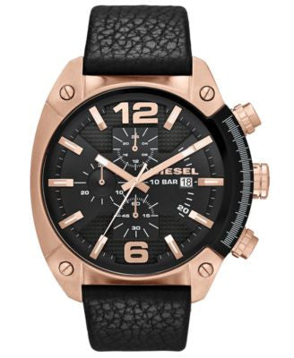 Diesel Watch, Men's Chronograph Black Textured Leather Strap 49mm DZ4297