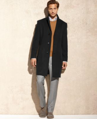 Calvin Klein Coat Solid Plaza Cashmere-Blend Overcoat