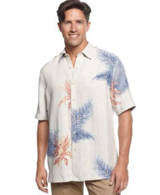 Tasso Elba Island Shirt, Short-Sleeve Thomas Fern Silk/Linen-Blend Shirt
