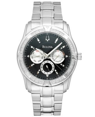 Bulova Men's Diamond Accent Stainless Steel Bracelet Watch 42mm 96E115