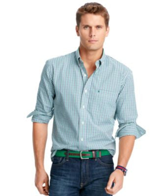 IZOD Big and Tall Long-Sleeve Checked Shirt