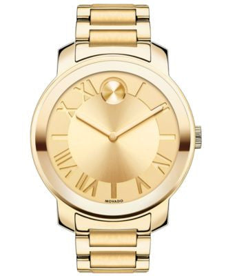 Movado Women's Swiss Bold Gold Ion-Plated Stainless Steel Bracelet Watch 39mm 3600197