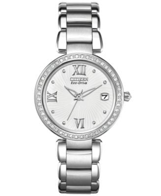 Citizen Women's Eco-Drive Diamond Accent Stainless Steel Bracelet Watch 33mm EO1100-57A