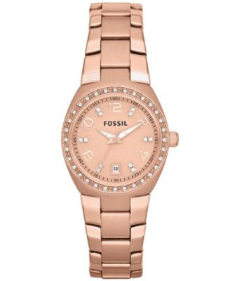 Fossil Women's Rose Gold-Tone Stainless Steel Bracelet Watch 28mm AM4508