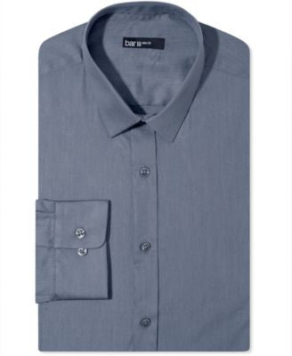 Bar III Slim-Fit Thunder Grey Solid Dress Shirt