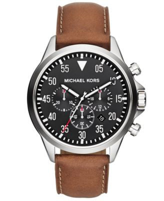 Michael Kors Men's Chronograph Gage Luggage Leather Strap Watch 45mm MK8333