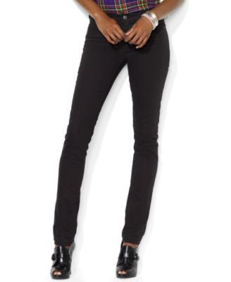 Lauren Jeans Co. Stretch Premier Skinny Jeans, Black Wash