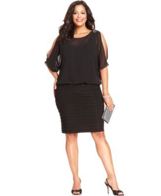 R&M Richards Plus Size Split-Sleeve Pleated Dress