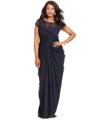 Adrianna Papell Plus Size Illusion Lace Draped Gown