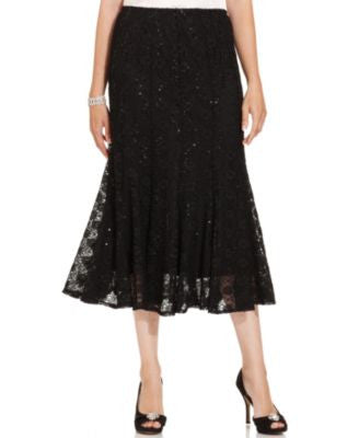 Onyx Sequined Lace Midi Skirt