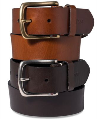 Tommy Hilfiger Striped-Tab Leather Belt