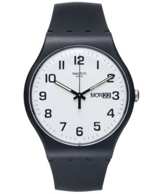 Swatch Watch, Unisex Swiss Twice Again Black Silicone Strap 41mm SUOB705