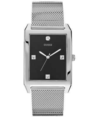 GUESS Watch, Men's Diamond Accent Stainless Steel Mesh Bracelet 40x35mm U0279G1