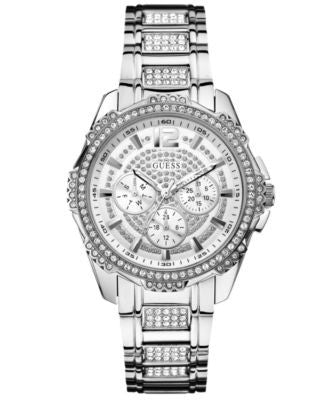 GUESS Watch, Women's Crystal-Accent Stainless Steel Bracelet 42mm U0286L1
