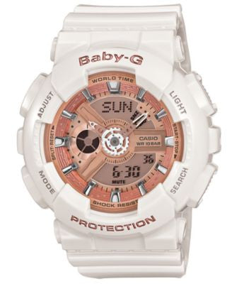 Baby-G Watch, Women's Analog-Digital White Resin Strap 43x46mm BA110-7A1