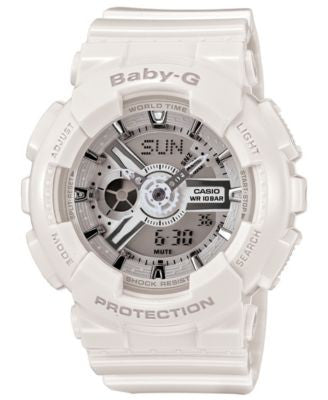 Baby-G Watch, Women's Analog-Digital White Resin Strap 43x46mm BA110-7A3