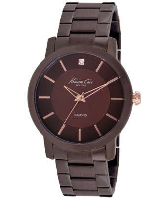 Kenneth Cole New York Watch, Men's Diamond Accent Brown Ion-Plated Stainless Steel Bracelet 44mm KC9
