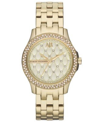 A|X Armani Exchange Watch, Women's Gold Ion-Plated Stainless Steel Bracelet 36mm AX5216