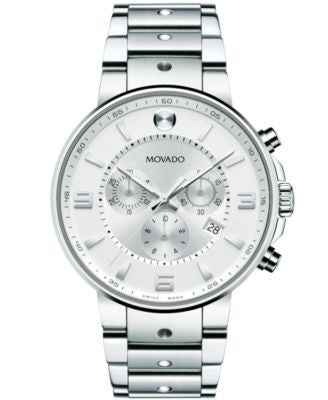 Movado Men's Swiss Chronograph S.E. Pilot Stainless Steel Bracelet Watch 42mm 0606760