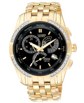 Citizen Men's Calibre 8700 Eco-Drive Diamond Accent Gold-Tone Stainless Steel Bracelet Watch 39mm BL
