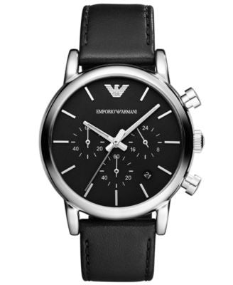 Emporio Armani Watch, Men's Chronograph Black Leather Strap 41mm AR1733